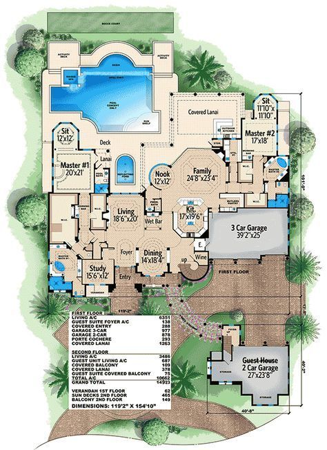 Plan 66340we Luxury Mediterranean Home Plan With Two Master Suites Mediterranean House Plans Luxury Mediterranean Homes Master Bedroom Plans
