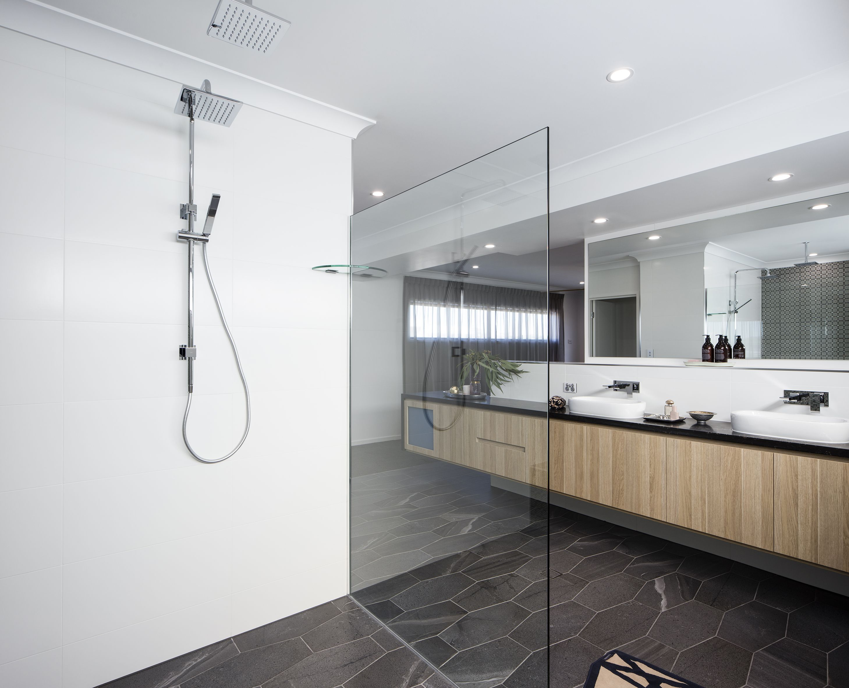 Fabulous looking bathroom in polytec Natural Oak Ravine | Modern ...