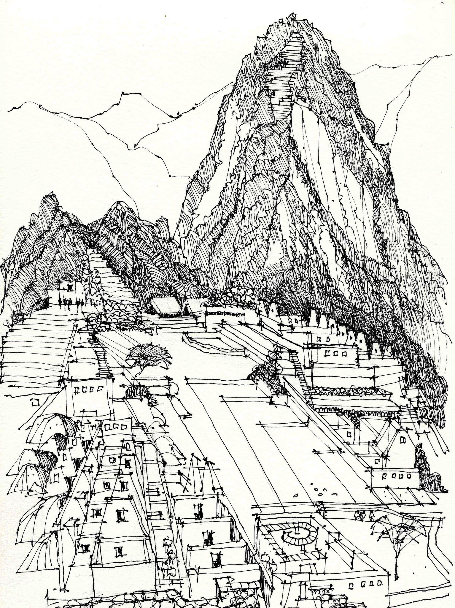 Machu Picchu Peru Bw Machu Picchu Urban Sketching Sketches