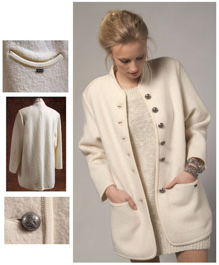 2828cb711410b Geiger of Austria Ladies Boiled Wool Smiley Car Coat Style 65220 in WINTER  WHITE 329