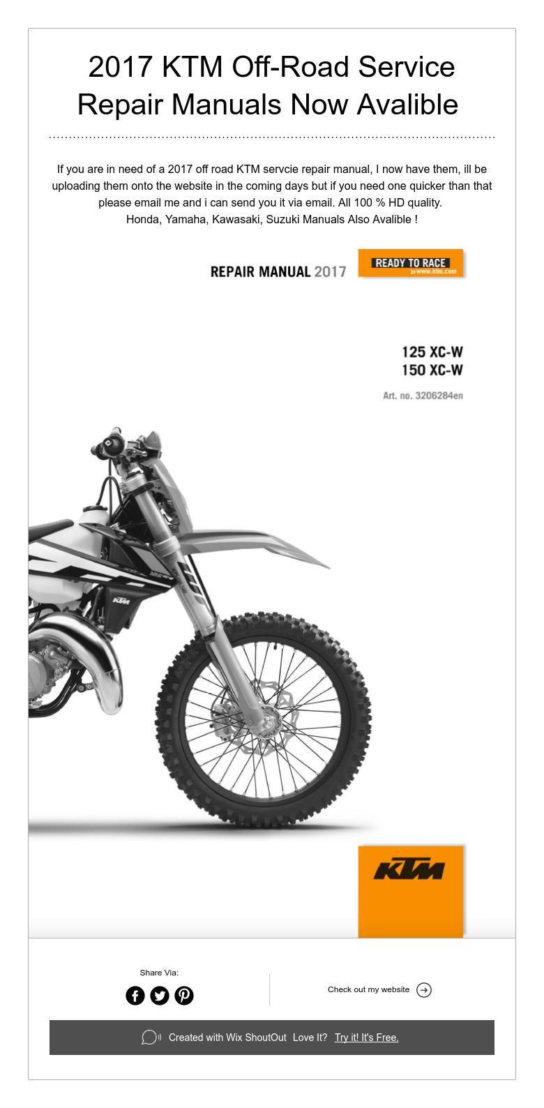 2017 KTM Repair Manuals Now Avalible