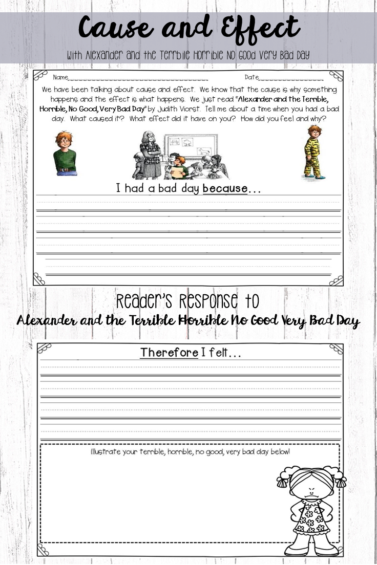 Pin By First Grade Joy On Writing Reader Response Cause And Effect Worksheets Very Bad