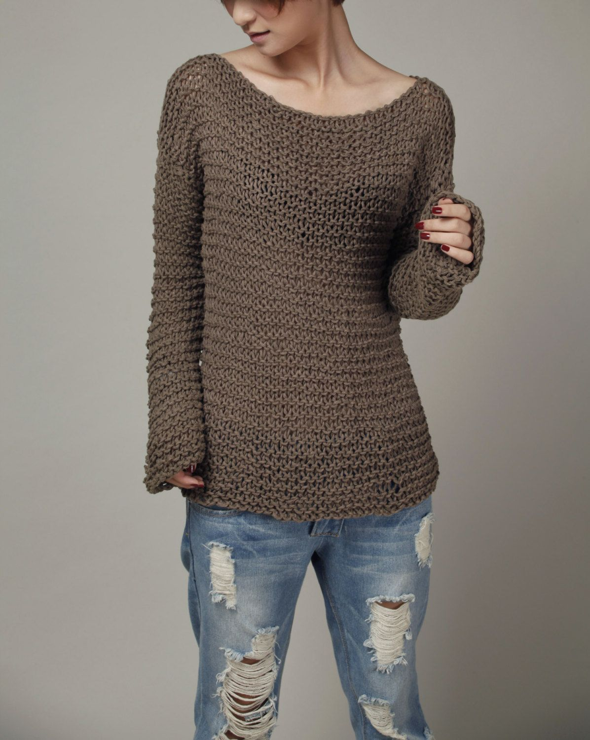 Hand knit woman sweater chocolate Eco sweater oversized mocha ...