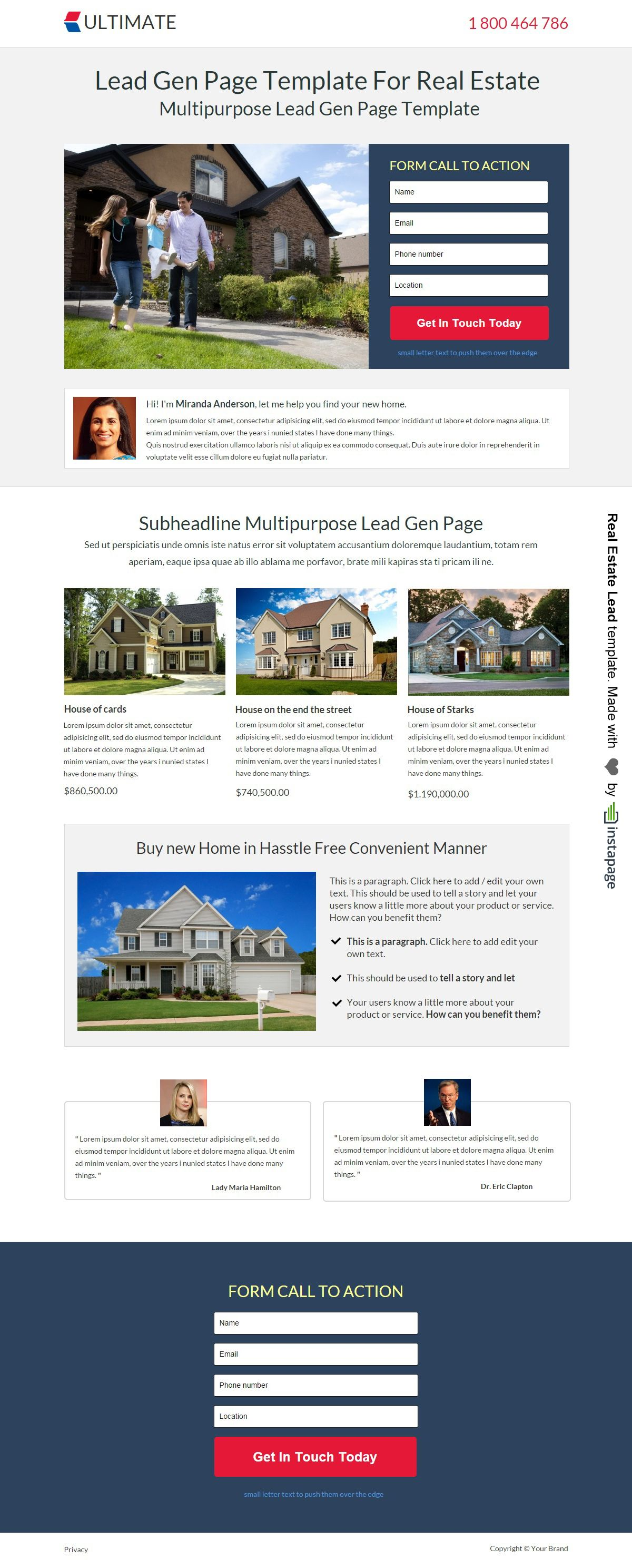 Real Estate Landing Page Template By Instapage Real Estate Landing - Real estate landing page template free