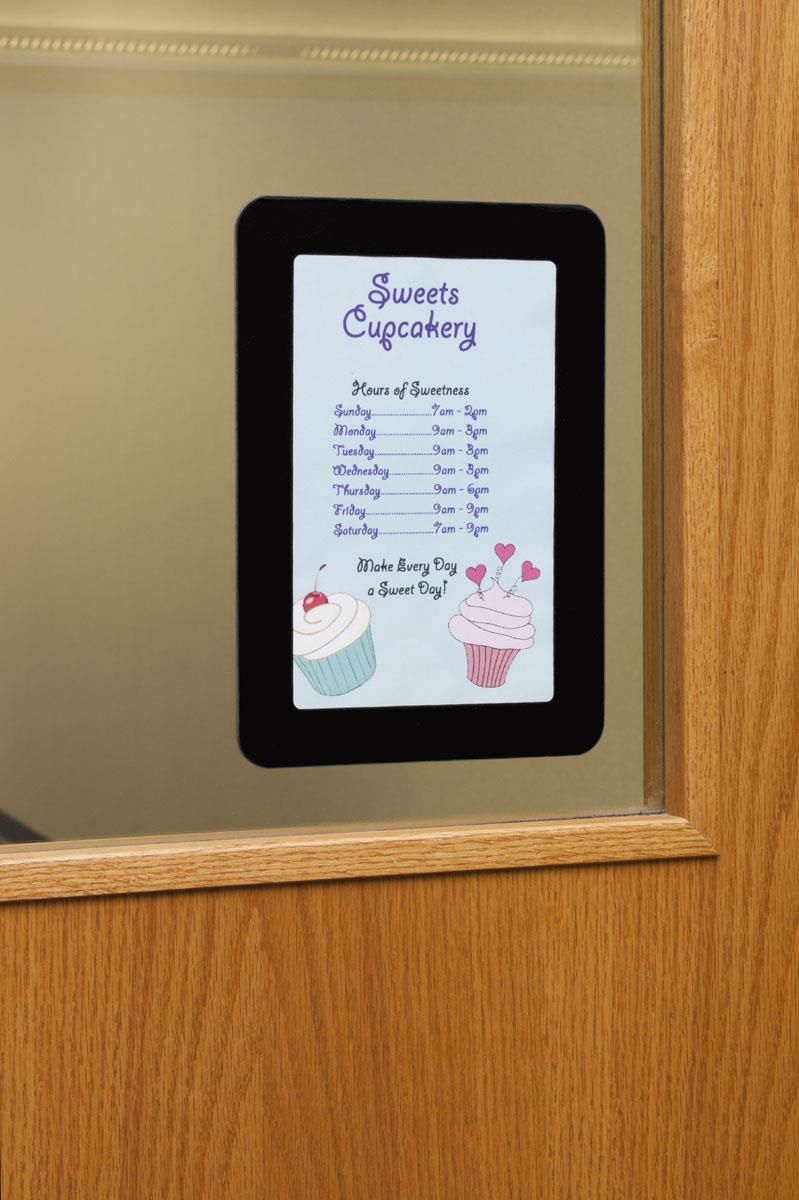 5.5 x 8.5 Window Sign Holder with Magnetic Lens, Adhesive Dots ...