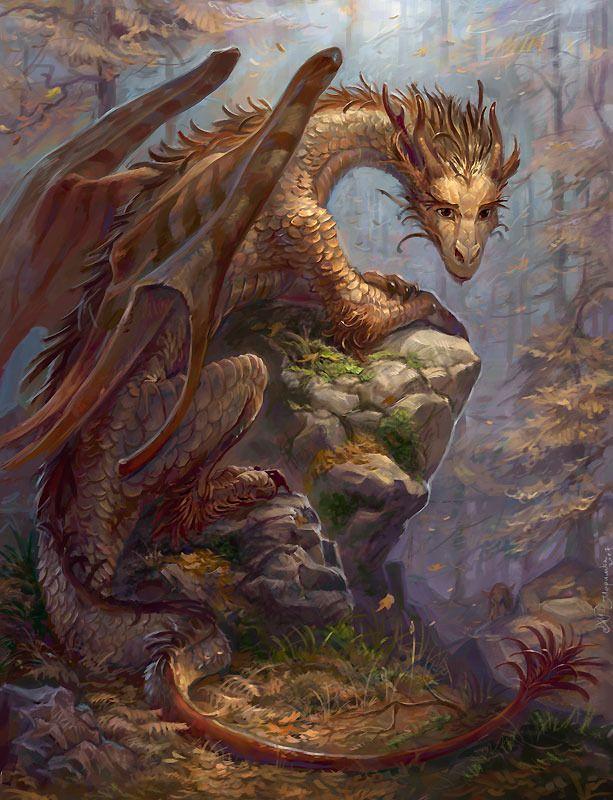 Dark Fantasy Art Dragons | Dark-eyed Picture (2d, fantasy, dragon, autumn, silence)