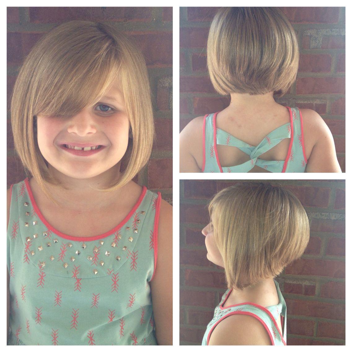 Stacked Angle Bob On A Little Girl Girl Haircuts Kids Short