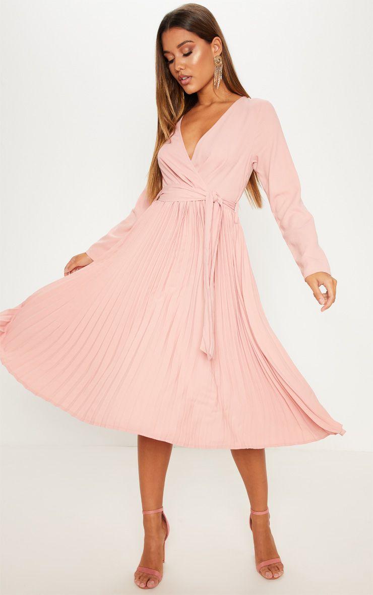 Rose Long Sleeve Pleated Midi Dress Pleated Midi Dress Fashion Clothes Women Fashion For Petite Women [ 1180 x 740 Pixel ]