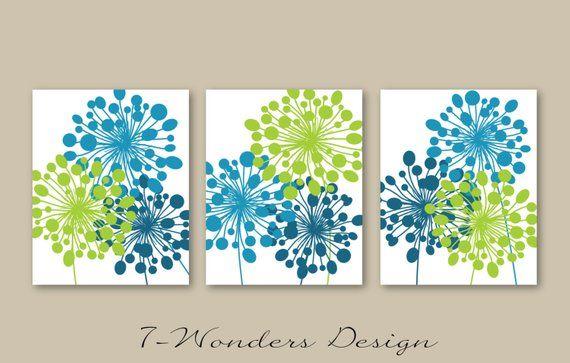 Abstract Floral Dandelion Art Prints Set of (3) 5x7, 8x 10 or 11x14 // Lime., Sea Blue, Glass Blue Modern Home Wall Art Decor, Unframed