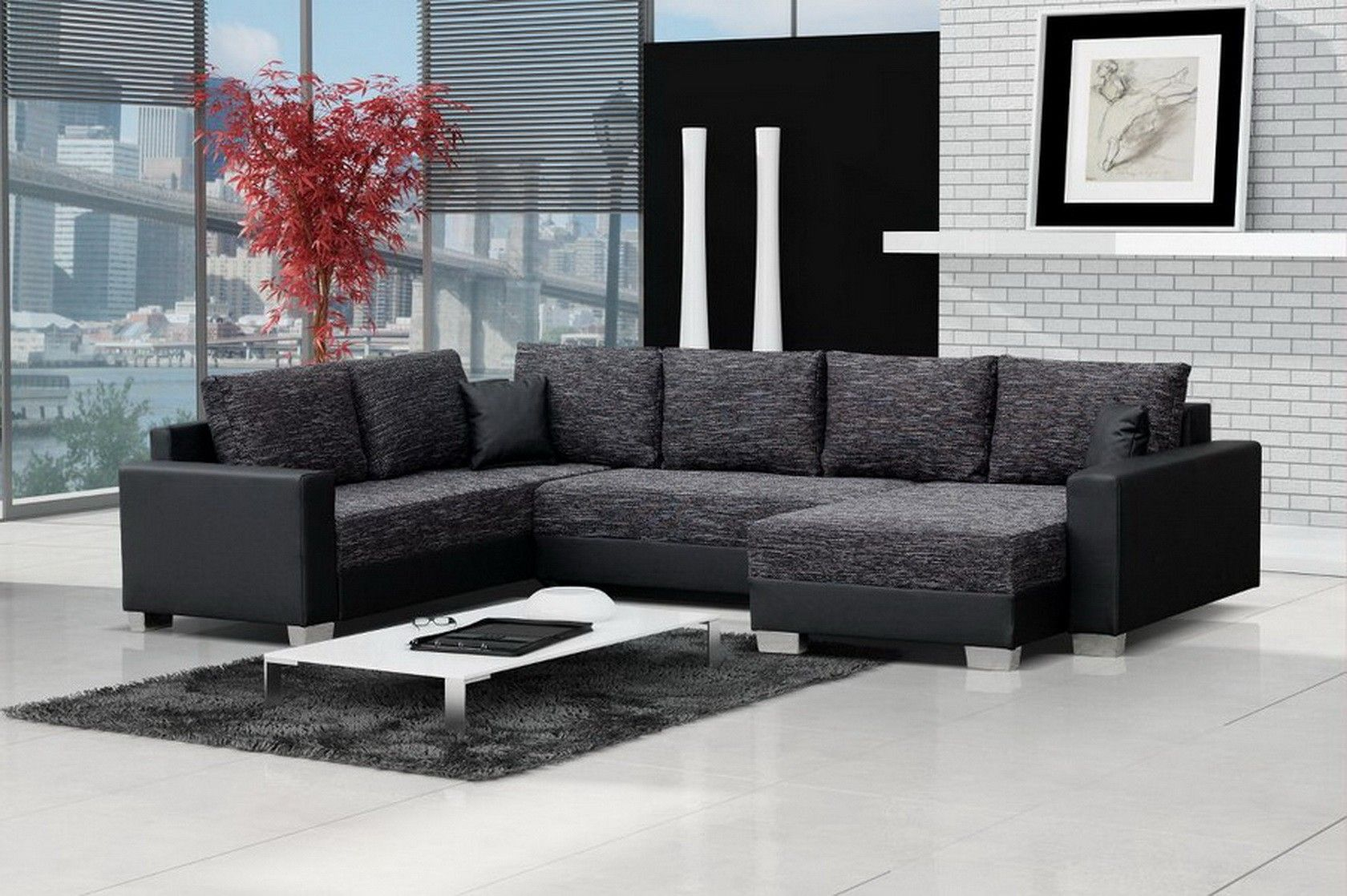 Canap angle droit convertible tissu chin gris anthracite Canape angle gris chine