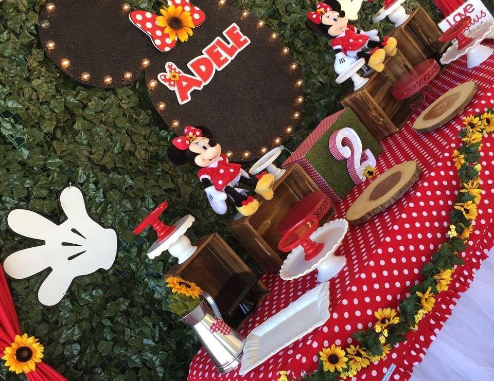 """Sunflower garden Minnie Mouse party / Birthday """"Minnie 1st ..."""