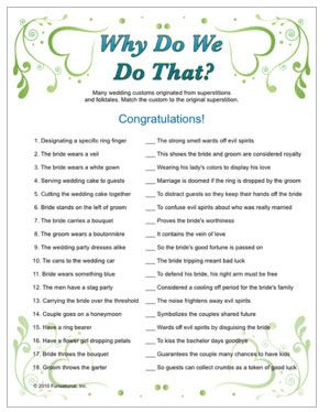 wedding trivia why do we do that tradition with trivia questions answers bridal shower game