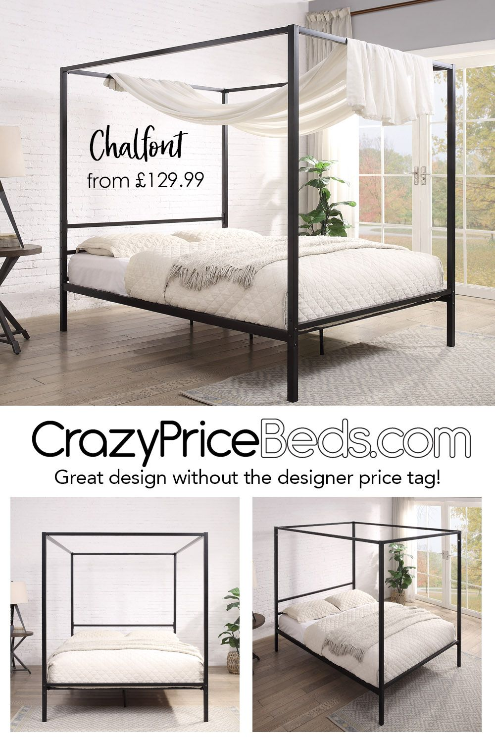 Chalfont Black Four Poster Metal Bed Frame Single Double King