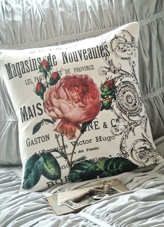 Cotton and Burlap Pillow Cover...the Maison rose by JolieMarche, $35.00