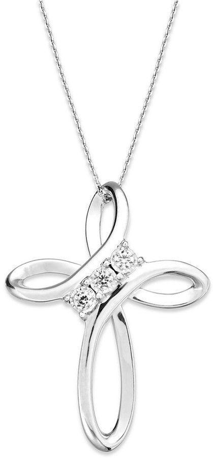 14k white gold fn 925 silver three stone cross pendant necklace with 14k white gold fn 925 silver three stone cross pendant necklace with 18 chain aloadofball Gallery