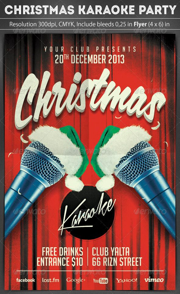Christmas Karaoke Flyer | Karaoke, Flyer template and Christmas flyer