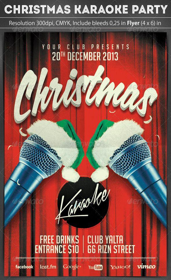 Christmas Karaoke Flyer Karaoke Karaoke Party Christmas Party Invitations