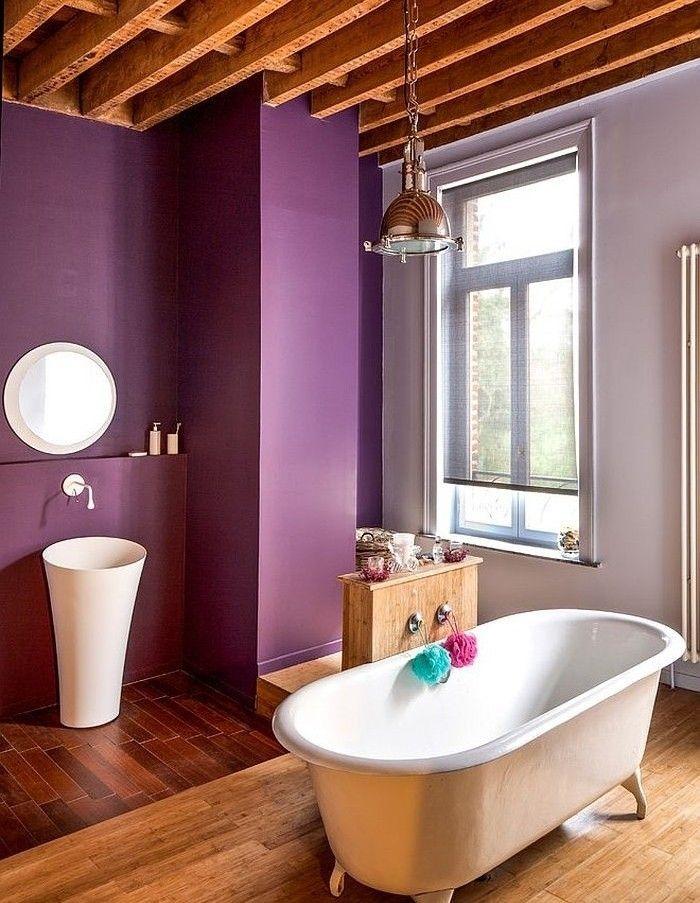 Peinture salle de bain - 80 photos qui vont vous faire craquer Violets