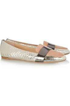 Tri-tone python and leather loafers