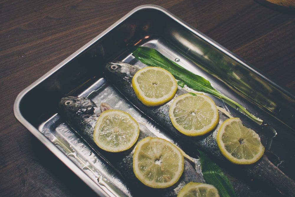 Pstruh pripravený na pečenie #medvedicesnak #pstruh #lemon #rukola #wildgarlic #yummy #recipe #fish #trout
