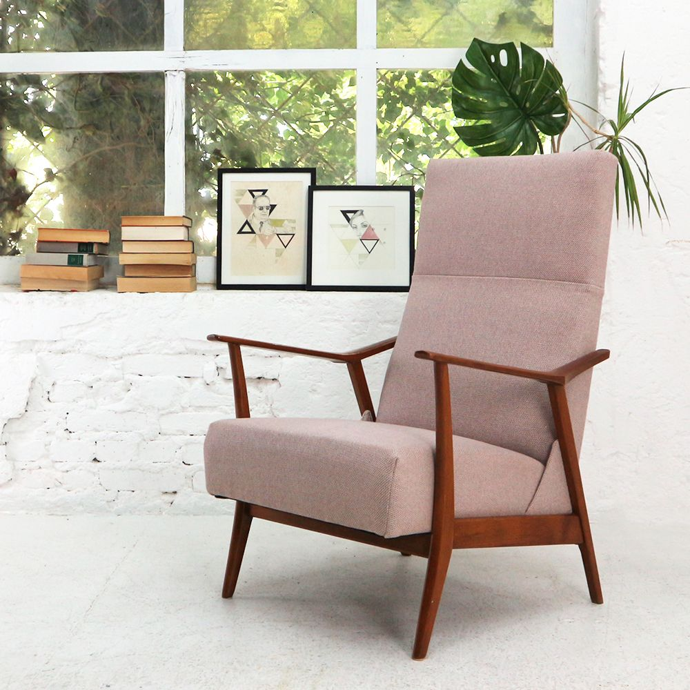 Reclining Armchair In Dusty Pink 1950s Seating Design