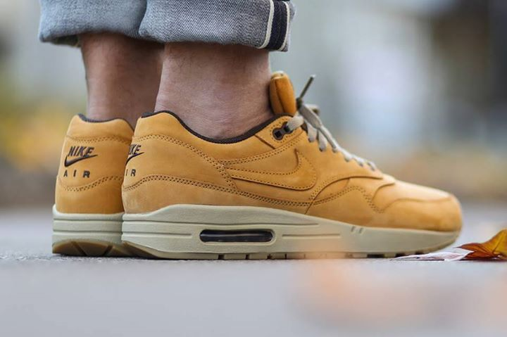 online retailer c910d 00ce8 On foot shots of the Nike Air Max 1 Leather Premium Wheat. Available now.