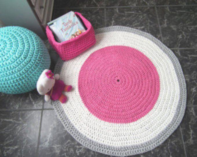 Crochet Round Rug Tee Baby Play Mat Nursery Kids