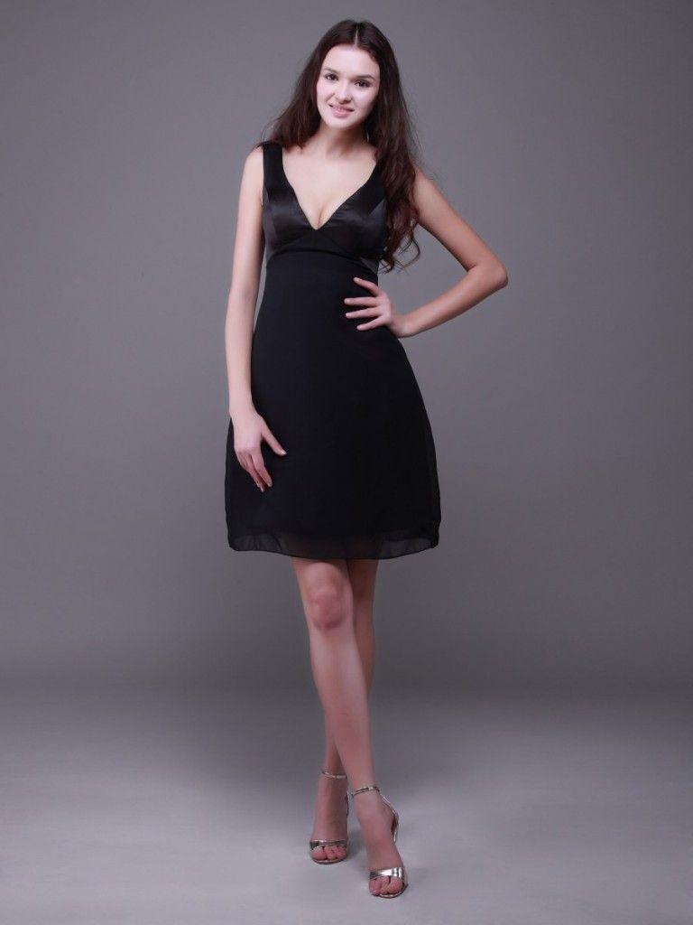 Satin Chiffon Sleeveless Deep V neck A line Little Black Dress The ...