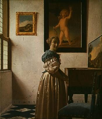 Vermeer-Lady Standing at a Virginal Jan Vermeer van Delft (baptized 31 October 1632 in Delft , buried December 15th 1675 in Delft; Contemporary: Joannis ver sea , Joannis van der Meer ) is one of the most famous Dutch painters of the Baroque . He worked in the era of Golden Age of the Netherlands , in which the country experienced a political, economic and cultural heyday.