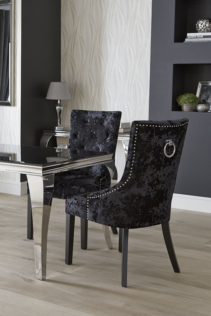 Available At The Range These Sumptuous Black Velvet Chairs Are Studded With Silver Ring Detail Dining Chairs White Leather Dining Chairs Velvet Dining Chairs