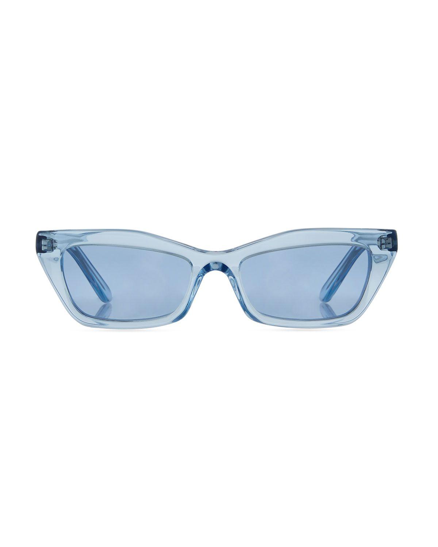a50b1e55bf3d Runway Cat-Eye Shiny Sunglasses Blue   Products   Sunglasses ...
