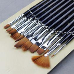12Pcs Art Brushes Set Nylon Hair Artist Paint Watercolor Acrylic Painting Craft
