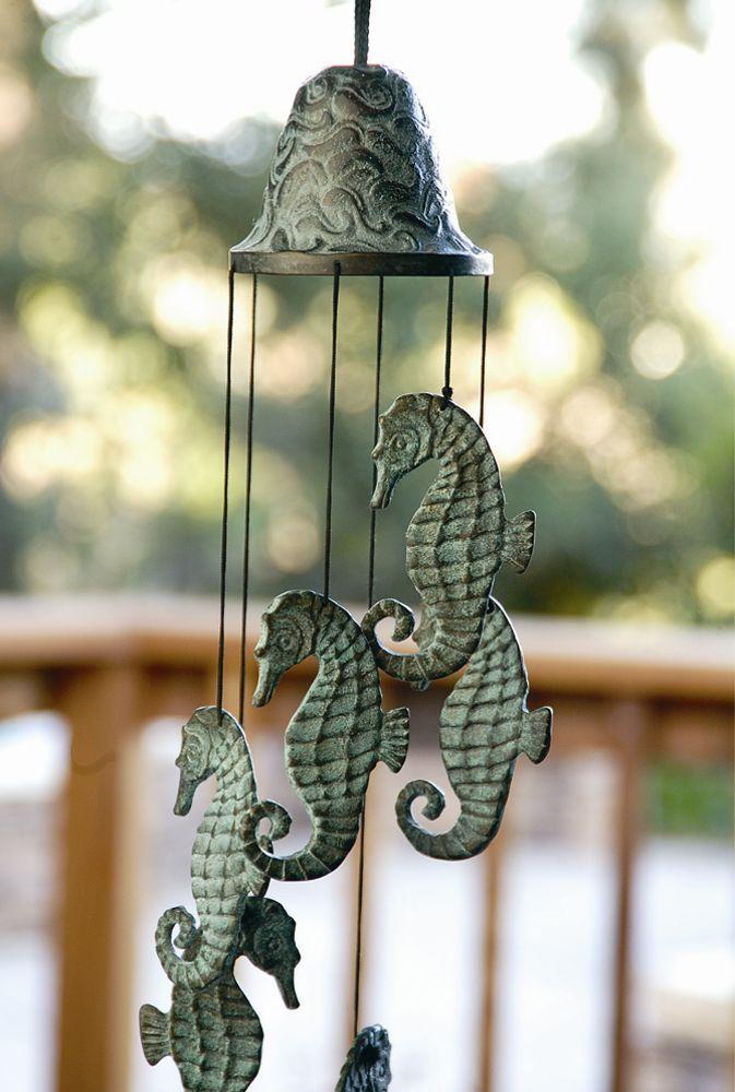 Bell Decor Brass Seahorse Wind Chime Nautical Coastal Garden Bell Decor Ocean