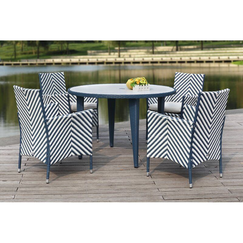 Mcgrady 5 Piece Dining Set With Cushions Reviews Allmodern Outdoor Dining Set Outdoor Dining Wicker Dining Chairs