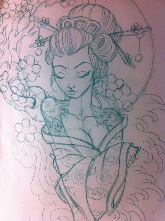 Japanese Geisha Sketch By 5stardesigns On Deviantart Sketches Drawings Japanese Tattoo