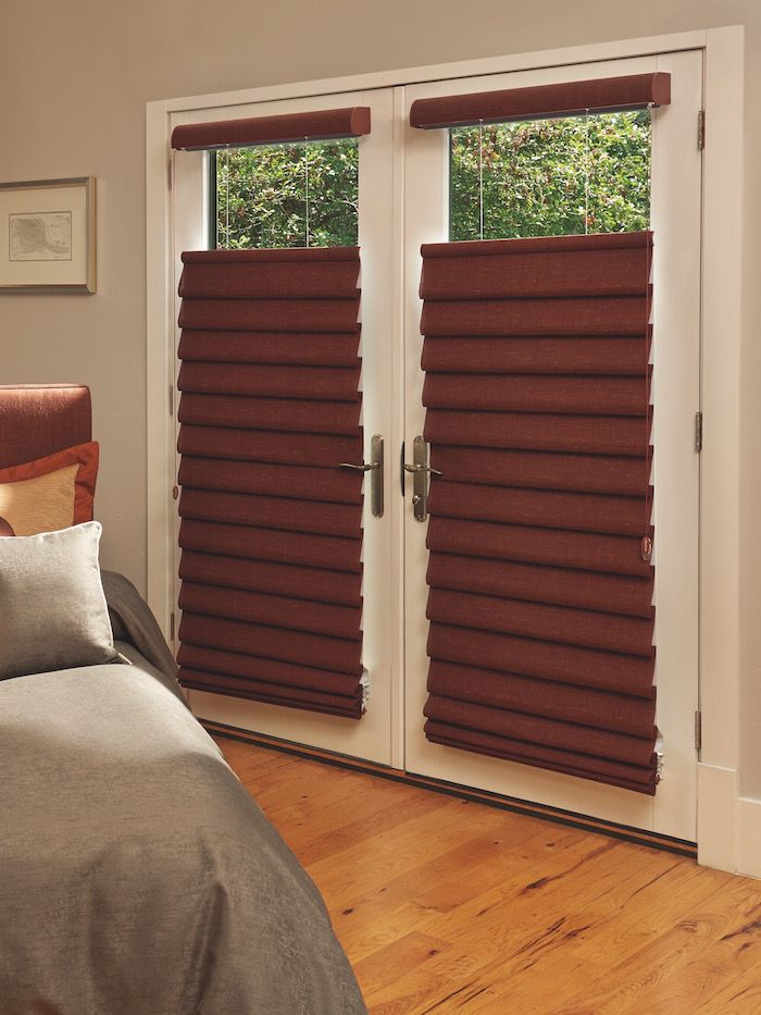 Dark Vignette Modern Roman Shades On A French Door, For Sale At Classic  Blinds U0026