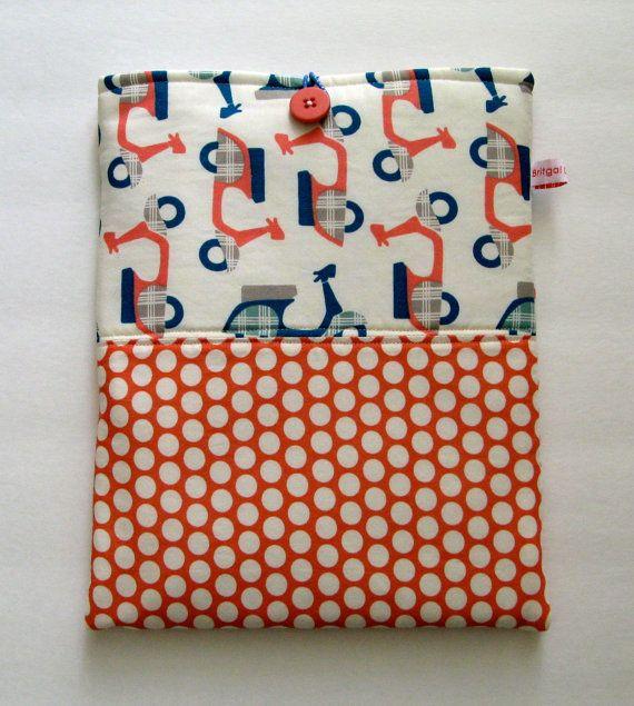 iPad cover, iPad case, IPad Sleeve   Scooters and Polka Dots designer fabrics Ready to Ship. $20.00, via Etsy.