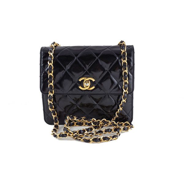 Pre Owned Chanel Black Vintage Patent Tall Mini Flap 2 55 Bag Patent Leather Handbags Chanel New Chanel Bags