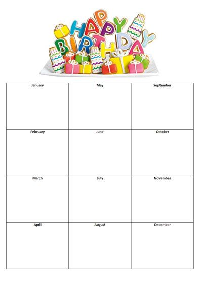 Birthday List Template Free Birthday List Template To Print  Birthday List  Crafts  Pinterest .