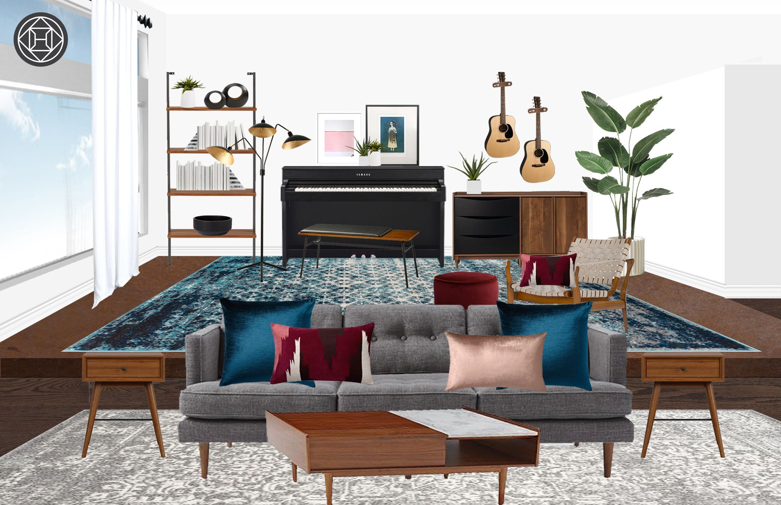 Eclectic, Midcentury Modern Living Room Design by Havenly ...