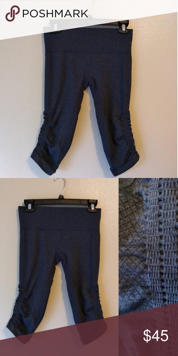28811bc310 Lululemon cropped leggings cobalt gray women's 8 Ruffled detailing on the  lower leg outsides, SUPER