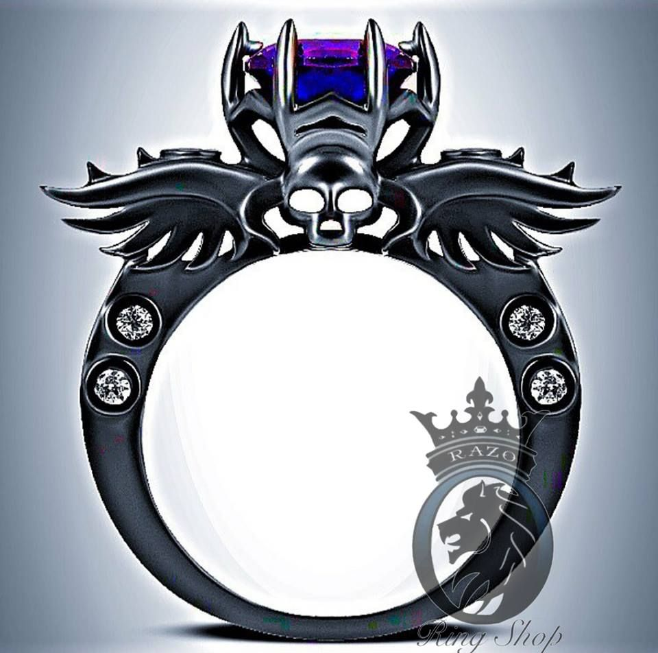Deathnote Inspired Purple Amethyst On Black Rhodium Or Black Gold Promise Engagement  Ring  Razo's Ring