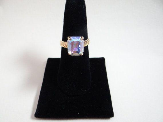 Aurora Borealis Rhinestone Cocktail Ring  So by SecondWindShop, $9.99