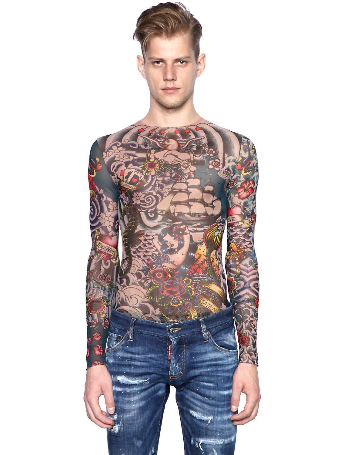 aa242952ed Multicolor Tattoo Printed Sheer Long Sleeve T-shirt for Men