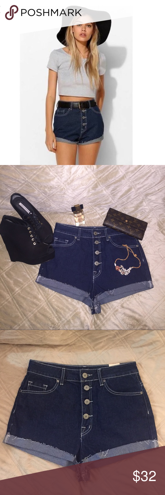"""FINAL SALE! UO super high rise foxy"""" cut offs. NWT. Urban outfitters bdg brand """"super high rise foxy"""" cut off denim shorts. Dark denim with white stitching. Size 28. Bundle to save! Urban Outfitters Shorts Jean Shorts"""
