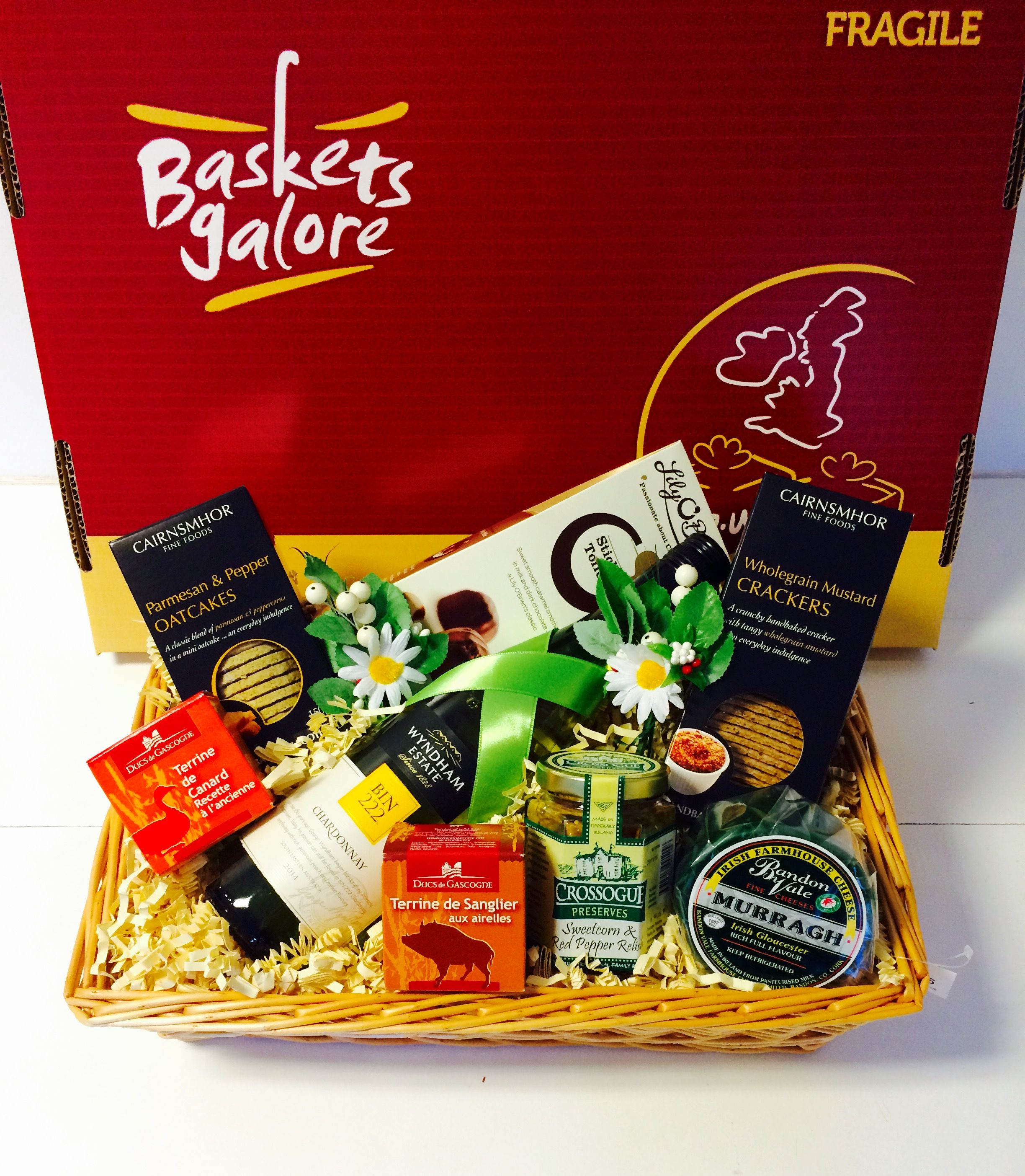 Cheese Crackers Chutney Pate Wine And Chocolate In A Gift Basket Perfect Gift Hampers Oat Cakes Gift Baskets