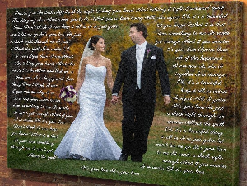 Latest Screen Personalized wedding picture with lyrics