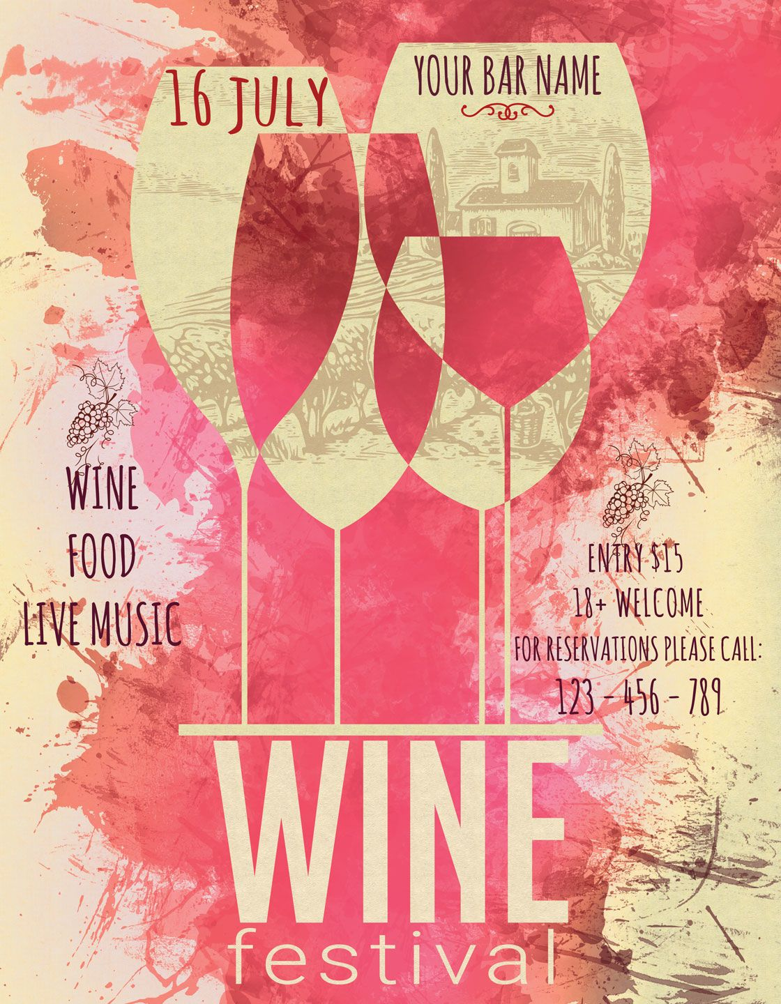 Wine Festival Flyer Poster Vintage By Artolus Thehungryjpeg Com Flyer Ad Festival Wine Poster Adver Wine Festival Festival Flyer Wine Travel