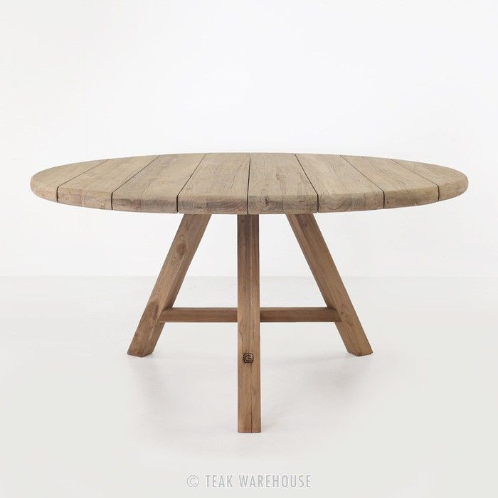 Toni Reclaimed Teak Round Outdoor Dining Table Round Outdoor Dining Table Round Patio Table Dining Table