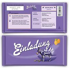 einladungen zum geburtstag (50 stück) lila schokolade schoko esel, Einladungsentwurf